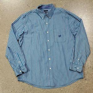 Chaps Blue Striped Dress Shirt
